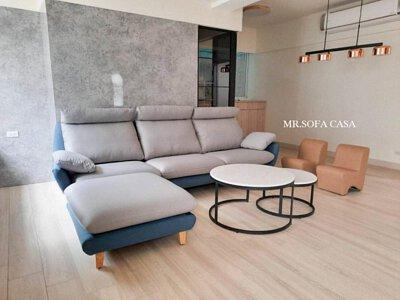 挑選黑、灰、白椅身搭配高飽和顏色的跳色抱枕讓整體俐落又不失活潑