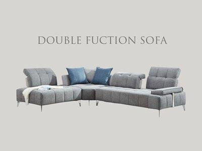 雙功能沙發有多種功能,頭枕可五段式調整