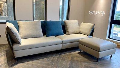 麗緻威爾沙發擁有特殊設計,半牛皮半布面,一套沙發享受雙重布料質感
