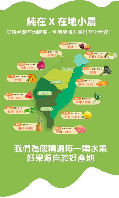 純在與在地小農合作,支持台灣在地農產,利用品牌力量推至全世界!