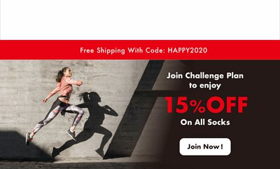 Join CHEGO Challenge Plan to enjoy 15% OFF on all socks!