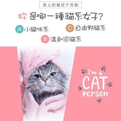 世上的貓兒千百款 妳是哪一種貓系女子? A小貓咪系 B 溫馴家貓系 C自由野貓系