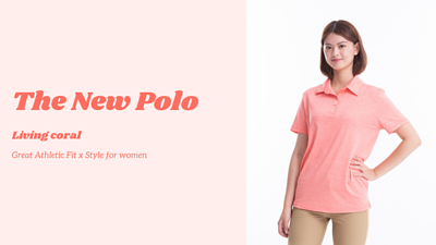 living coral polo shirts for women, best office outfit new style for women.