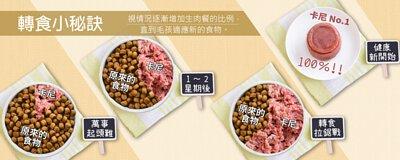 毛孩轉食小秘訣:視情況逐漸增加生肉餐的比例,直到毛孩適應新的食物。