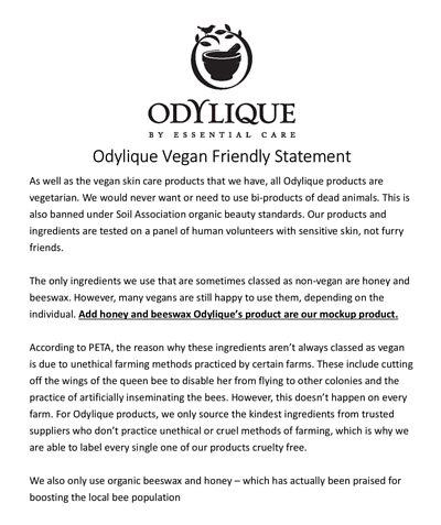 Odylique Vegan Friendly Statement
