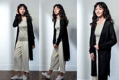 MIT針織外套長版設計-黑色