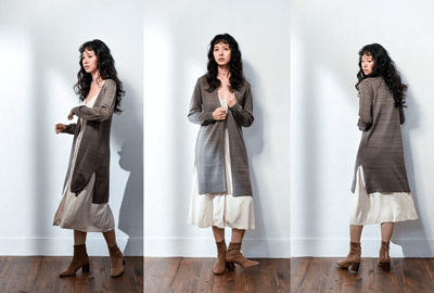 MIT針織外套長版設計-駝色