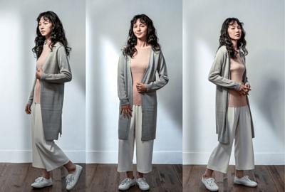 MIT針織外套長版設計-淺灰