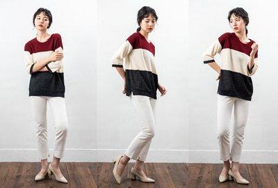 MIT七分袖女裝針織衫親膚感棗紅色塊|O-LIWAY 穿搭首選
