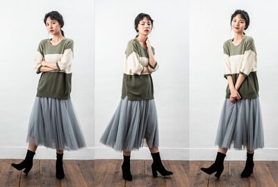 MIT七分袖設計女裝針織上衣親膚感毛巾紗大地色系|O-LIWAY 穿搭首選