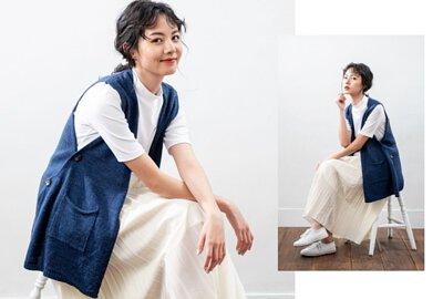 MIT針織背心配色米色百褶裙給人溫柔的印象