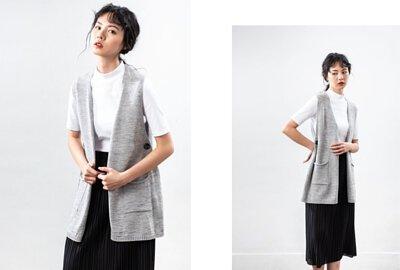 MIT針織背心雙口袋設計-淺灰色|O-LIWAY 穿搭首選
