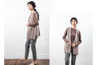 V領針織背心搭配細針美麗諾羊毛衫穿搭出簡約時尚感