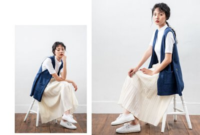 牛仔藍MIT針織背心|O-LIWAY 針織衫