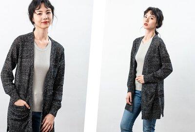 台灣製長版針織外套-黑灰色 |O-LIWAY 穿搭首選
