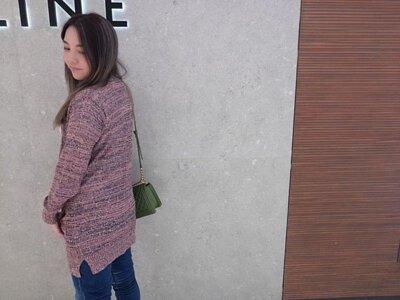 粉色長版針織外套-穿搭分享