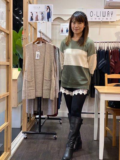 色塊設計毛巾紗針織上衣 |O-LIWAY 台灣製MIT針織毛衣