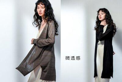 微透感長版針織外套