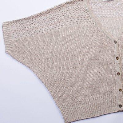 寬版針織外套肩膀蕾絲洞洞設計
