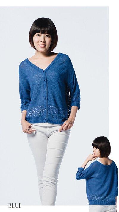 藍色針織外套-女