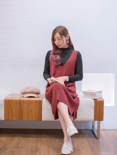 MIT針織洋裝背心式設計