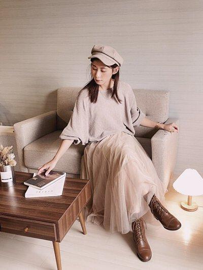 奶茶色-簡約連袖設計細針針織衫