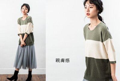 七分袖色塊針織衫