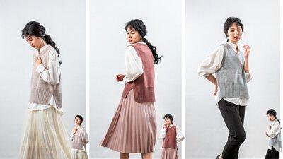 粉色短版針織背心