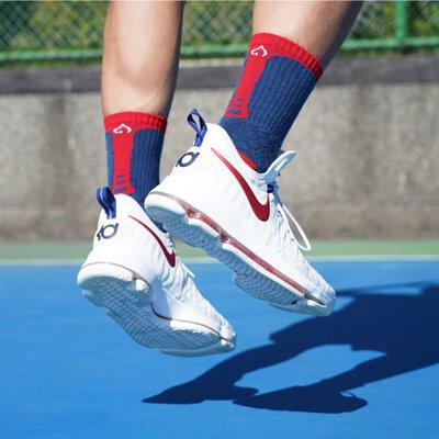 OH9黑狗運動襪競技籃球襪紅藍3