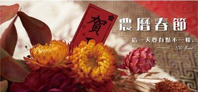 賀正,紅色系春節花禮過年盆栽與黃色麥桿菊