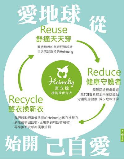 Heimelig直立棉機能環保內衣-從裡到外的環保3R