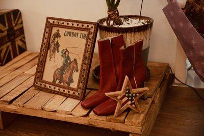 畫框, 牛仔, 牛仔靴, 西部