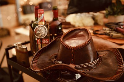 酒, 紅酒套, 牛仔帽, 真皮, 皮革