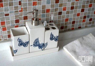 楊莉莉青花 陶瓷款盥洗組(三件一組)