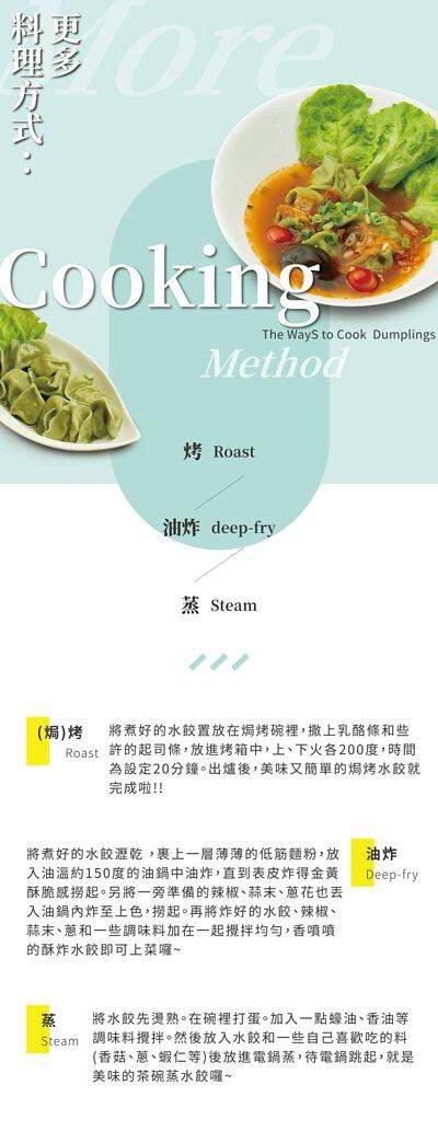 料理方式:可直接水煮也可以用煎的方式,烤的及蒸的也很推薦唷