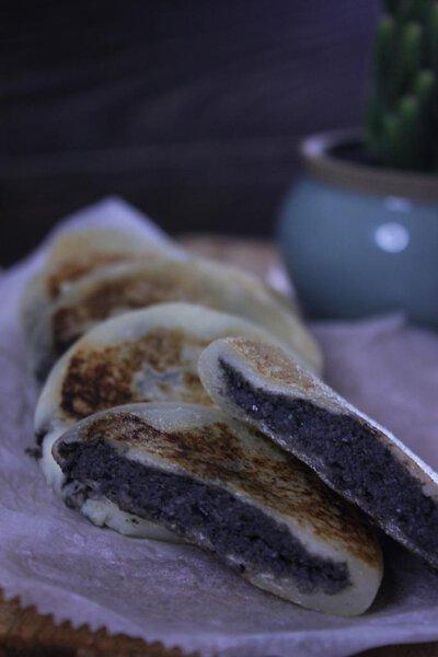 黑豆沙燒餅,黑豆沙,豆沙,燒餅,甜品,小食,自家製,做法,食譜, 家常菜, 煮餸,豆沙燒餅,糯米粉