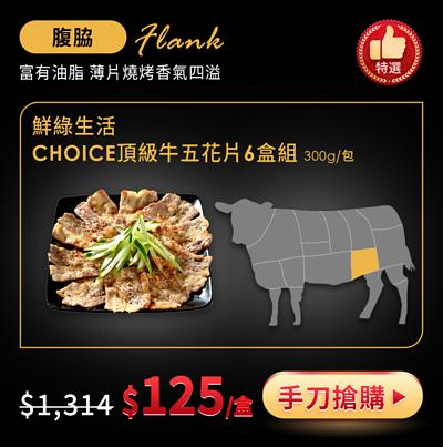 鮮綠生活CHOICE頂級牛五花片6包組-冷凍免運