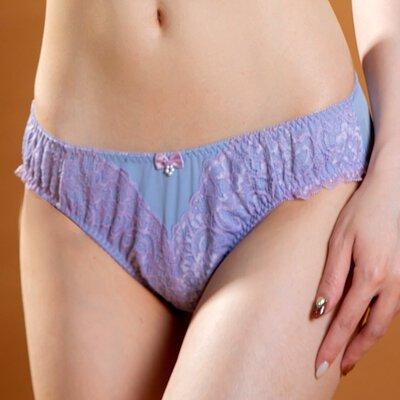 俏珍涼夏透氣前扣胸罩淺紫色配褲