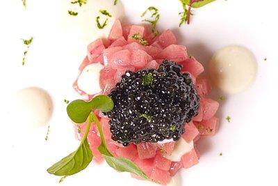Marinated Tuna Tartare with Citrus and  Tofu Emulsion, Royal Oscietra Caviar