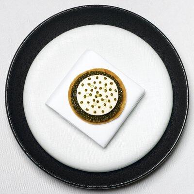 Oscietra Gold Caviar, Winter Leek, Crème Fraiche, Feuille de Brick