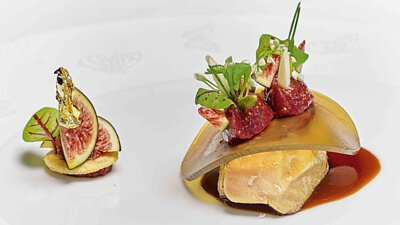 Hot Duck Foie Gras Escalope With Figs, Fig Compote in Red Win
