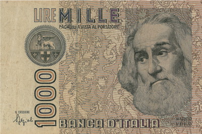 the 1,000 lire note was one of the denominations circulating in Italy
