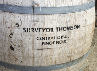a barrel of Suveyor Thomson Pinot Noir from Central Otago