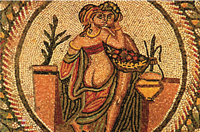 an erotic scene in which he is holding a container for wine, in a mosaic in Villa Romana del Casale