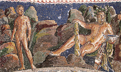 'Iolaus together with his hero and lover Hercules', with the hero holding a jar full of wine
