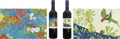 Caillard Mataro 2008 Label; top right, Caillard Mataro 2009 label, both of which are painted by Andrew