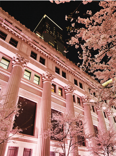 a splendid view of the hotel adorned with pink Sakura