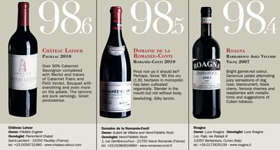 château latour Pauillac 2010;doMaine de la roManÉe-conti roManÉe-conti 2010;roagna BarBareSco aSili vecchie vigne 2007