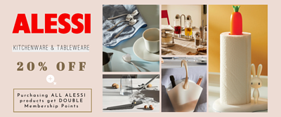 Alessi Italian Kitchenware Tableware promotion 20% off discount