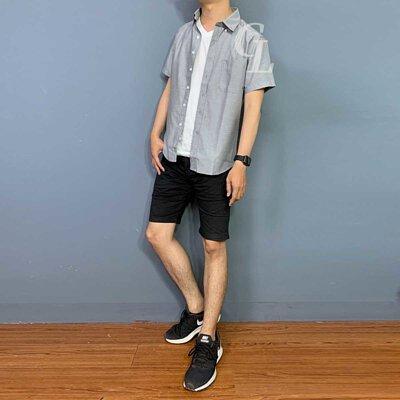 GL襯衫夏日穿搭灰色短牛津襯衫